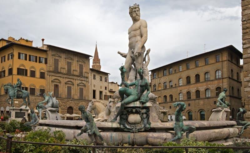 Piazza della Signoria. Fountain of Neptune on Piazza della Signoria, Firenze, Italy stock photo