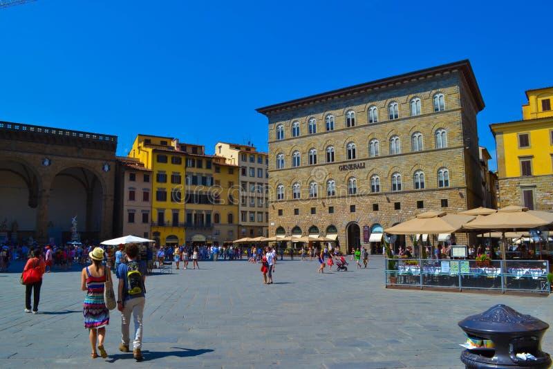 Piazza della Signoria die Generali Florence, Italië inbouwen stock fotografie