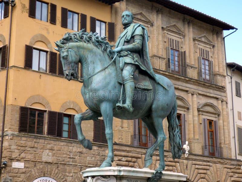 Italia. Firenze. Piazza della Signoria. The equestrian statue of the Duke of Florence, Cosimo I de Medici. Piazza della Signoria royalty free stock photography