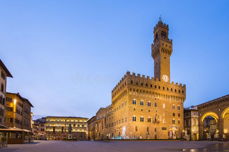 Piazza della Signoria in front of the Palazzo Vecchio in Florence, Italy.  royalty free stock photography
