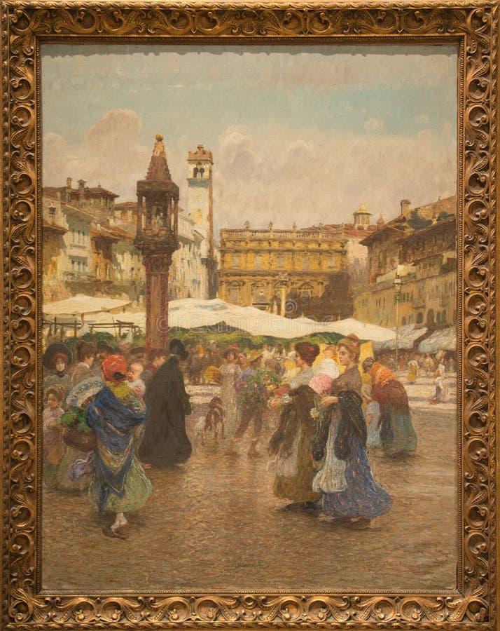 ` Piazza delle Erbe ` 1903 door Angelo Dall ` Oca Bianca stock foto's