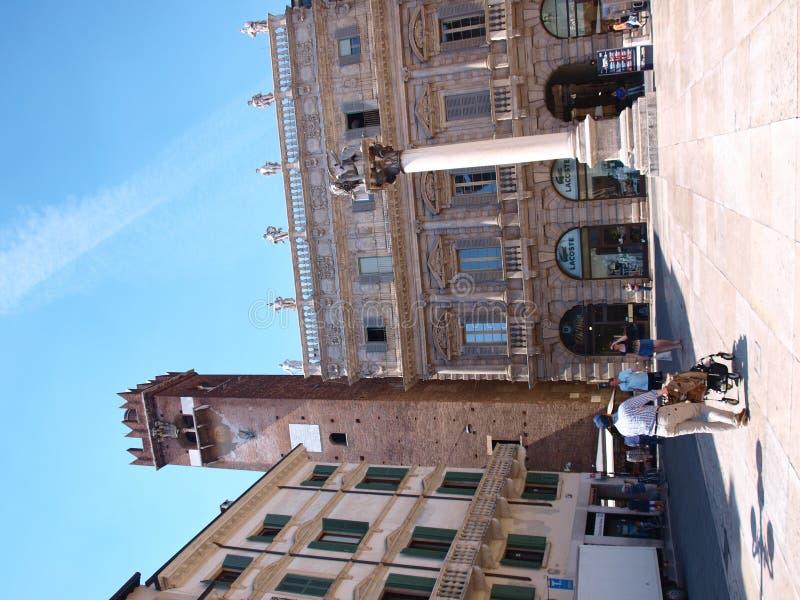 Piazza delle Erbe, Verona, Italië stock fotografie