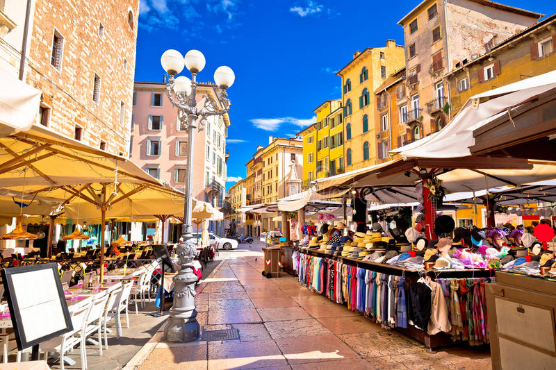 Piazza delle erbe in Verona street and market view stock images