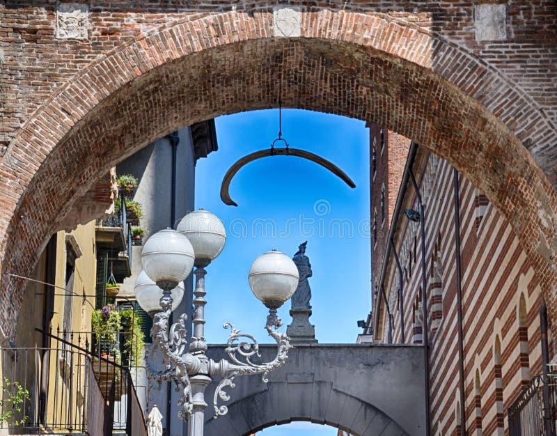 Piazza delle erbe in Verona street. Tourist destination in Veneto region of Italy stock photo