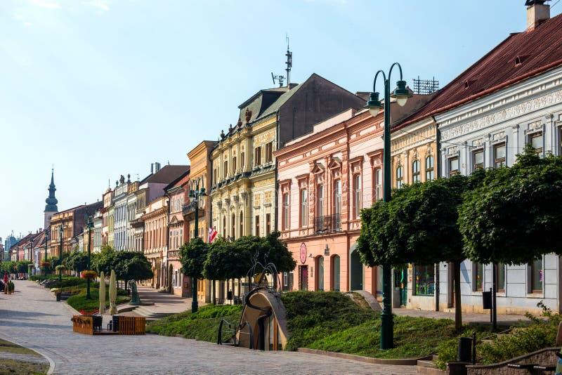 Piazza delle FO di panoramica vecchia di Presov, Slovacchia fotografia stock