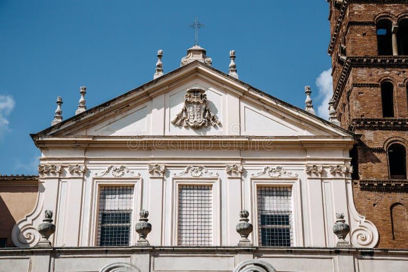Piazza di塞西莉亚, Trastevere,罗马,意大利外部  免版税库存图片