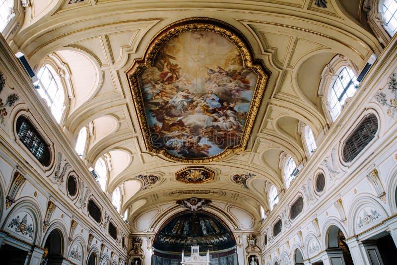 Piazza di塞西莉亚inTrastevere内部  免版税库存图片