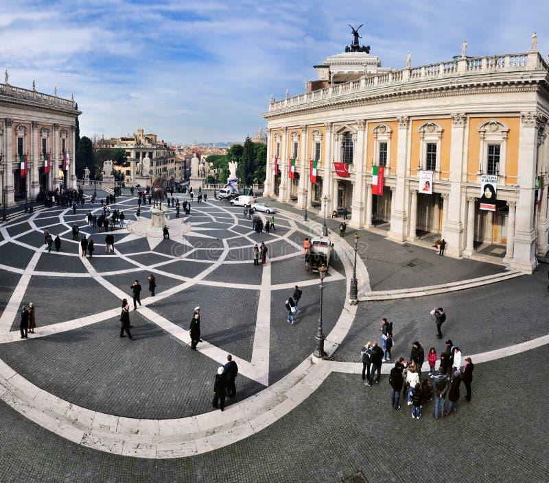 Piazza di Campidoglio, Rome. The Capitol in Rome. This picture shows the Piazza di Campidoglio and the two palaces flanking it (Palazzo Nuovo and Palazzo dei stock image