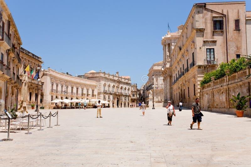 Piazza Di Duomo in Syracuse, Sicilië, Italië stock afbeelding