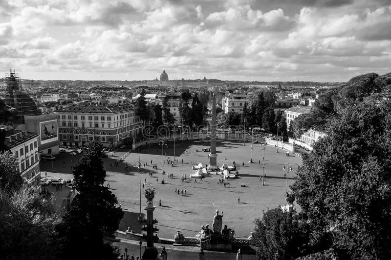 Piazza di Popolo in Rome, Italy on autumn day royalty free stock photo