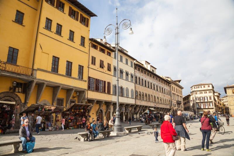 Piazza di Santa Croce in Florence stock image