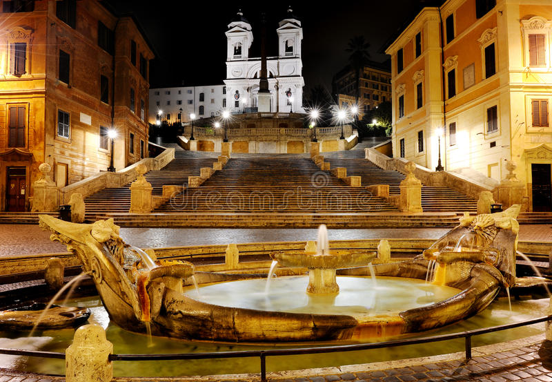 piazza di Spagna和西班牙步,罗马,意大利 免版税库存图片