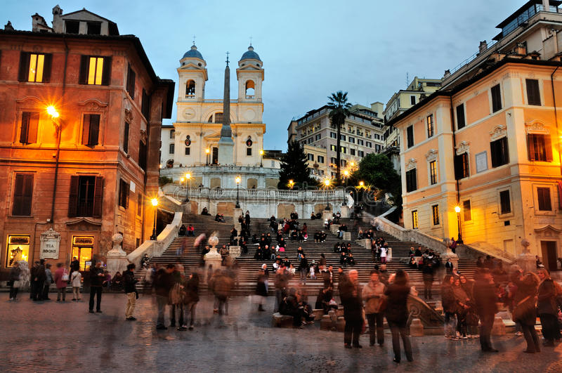 Piazza di Spagna, Rome. Piazza di Spagna and the Spanish Steps in the evening stock photography