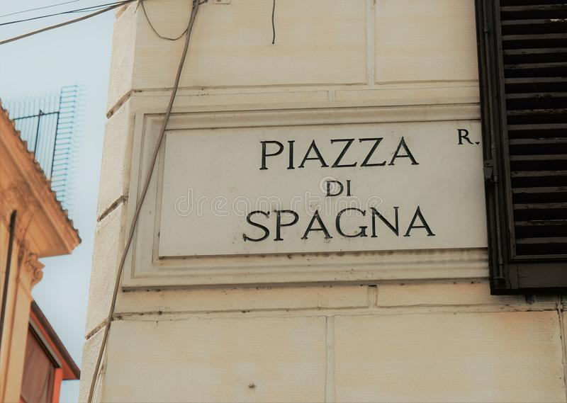 Street name sign of Piazza di Spagna, Rome, Italy stock photography