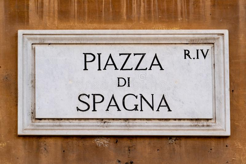 Piazza di spagna rome street sign royalty free stock photos