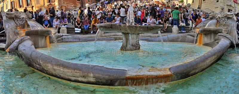 Piazza di Spagna - Rome. Tourists on the Spanish square in Rome - Piazza di Spagna or Trinità dei Monti - Italy stock image