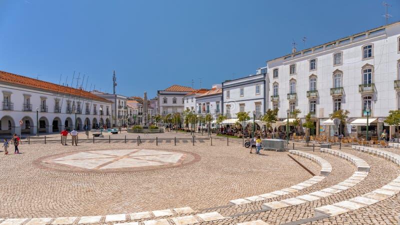 Piazza di Tavira, Portogallo fotografia stock libera da diritti