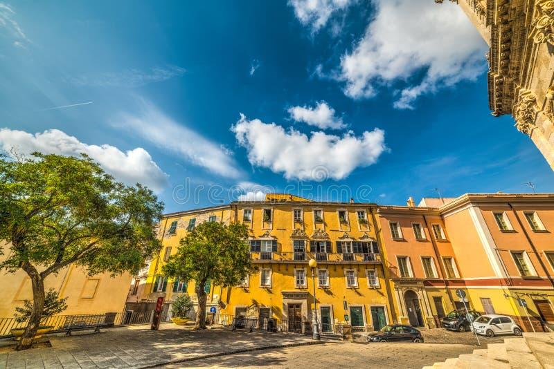 Piazza Duomo na cidade velha de Sassari fotos de stock