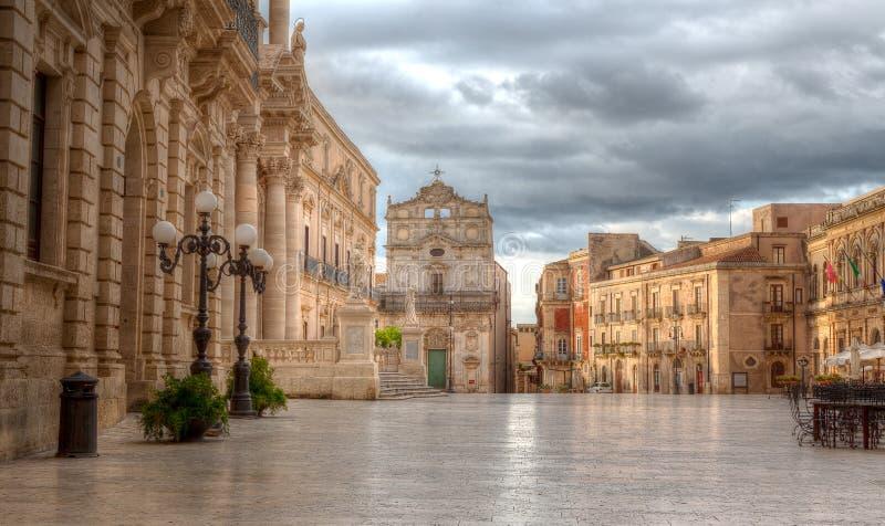 Piazza Duomo Syracuse, Sicilien, Italien arkivfoton