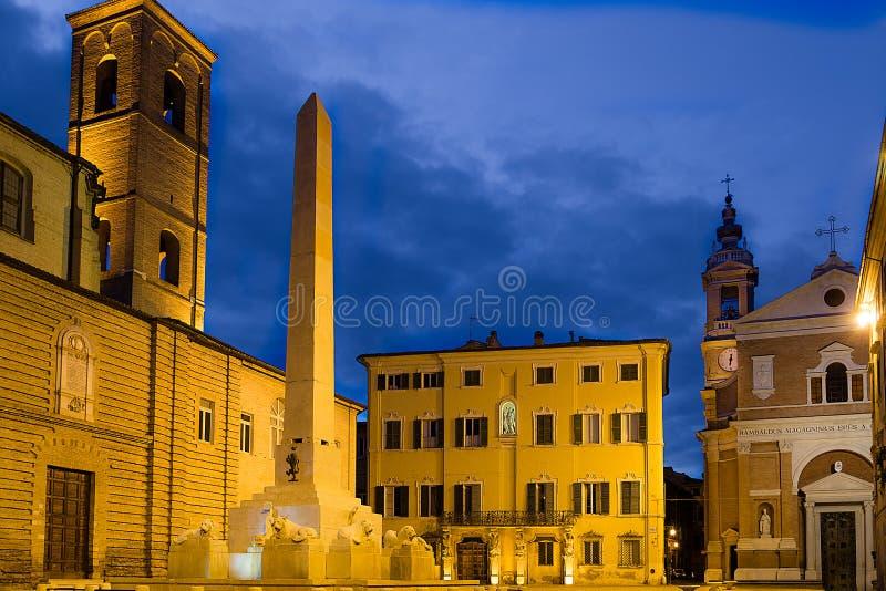 Piazza Federico II - dziejowy centrum Jesi Włochy 2014 Lipiec 22 obraz royalty free