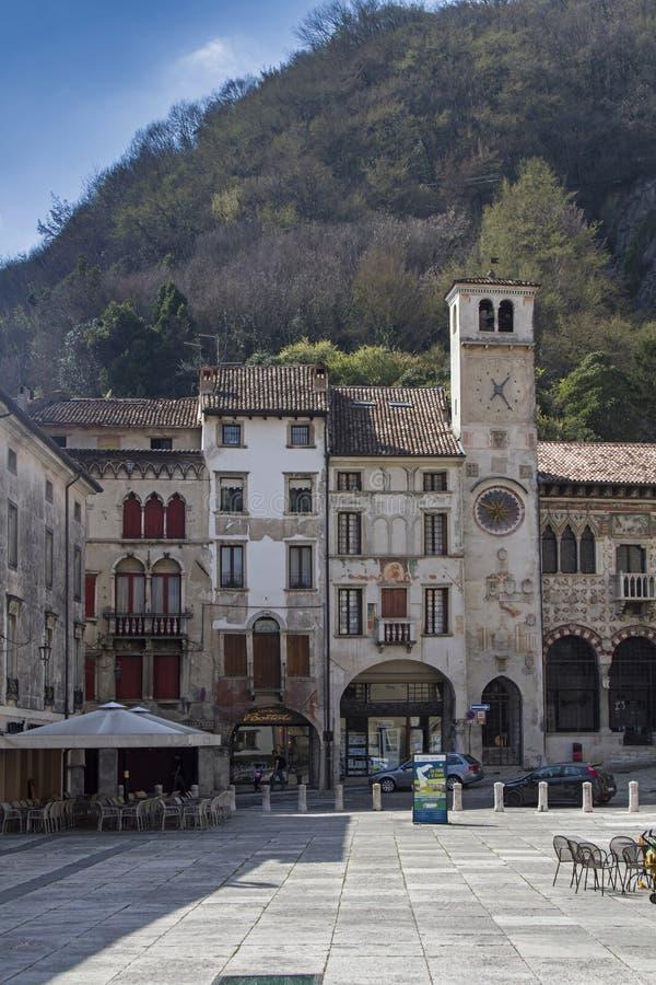 Piazza Flaminio in Vittorio Veneto stock image