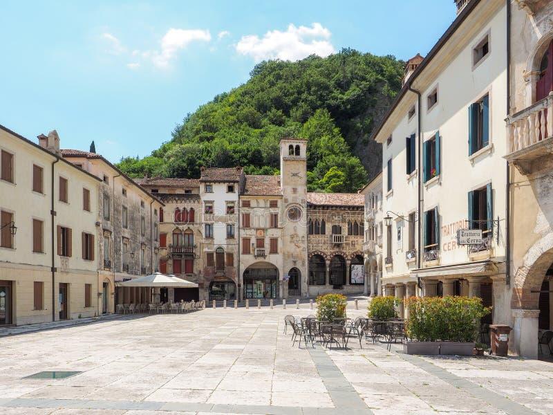 Piazza Flaminio in Vittorio Veneto town stock images
