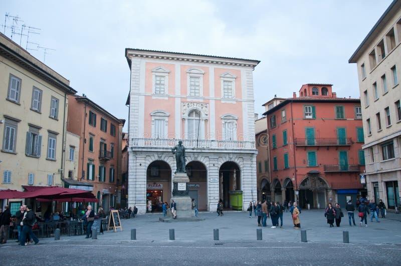 Piazza Garibaldi in Pisa with a statue of Garibaldi stock images