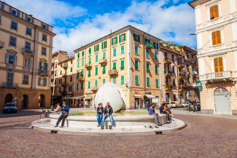 Piazza Garibaldi square, La Spezia. LA SPEZIA, ITALY - APRIL 07, 2019: The Fountain of Dialogue or Fontana del Dialogo at the Piazza Garibaldi square in La stock images