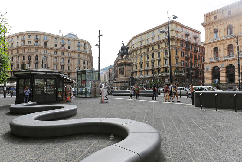 Piazza Giovanni Bovio Napoli stock afbeelding