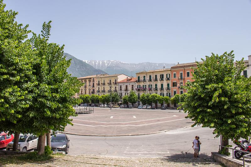 Piazza Giuseppe Garibaldi is the largest square in the city of Sulmona, Abruzzo stock photography