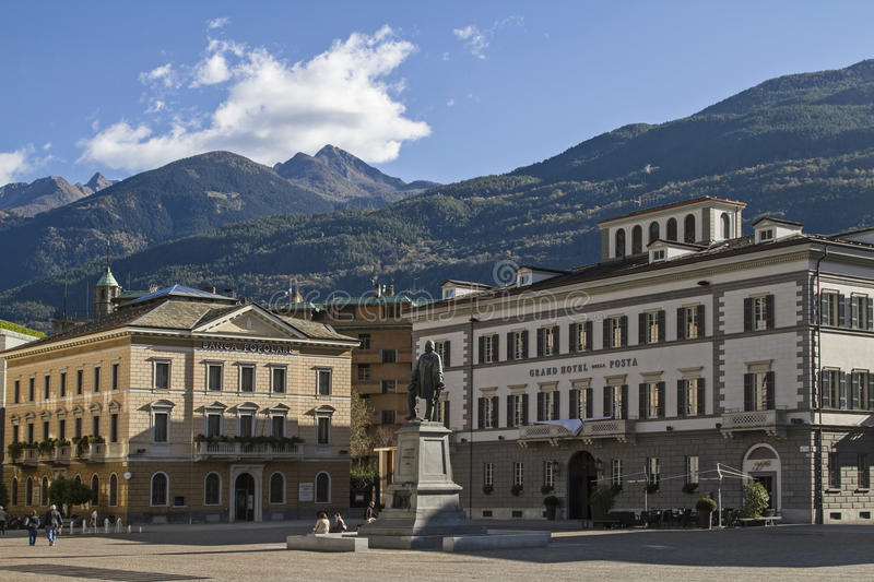 Piazza Giuseppe Garibaldi. Town square and the center of the provincial capital of Sondrio royalty free stock photo
