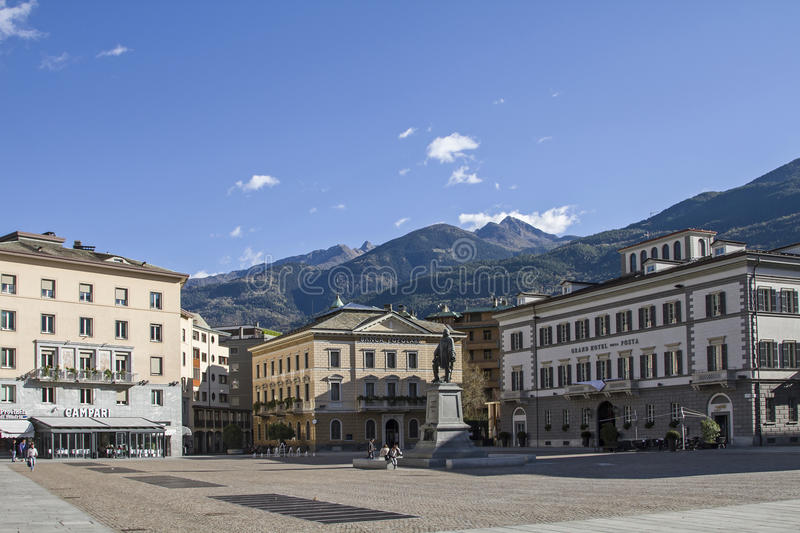 Piazza Giuseppe Garibaldi. Town square and the center of the provincial capital of Sondrio stock images