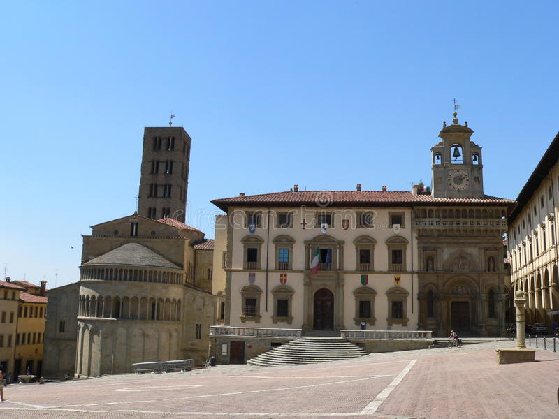 Piazza grand, Arezzo (Italie) photos libres de droits