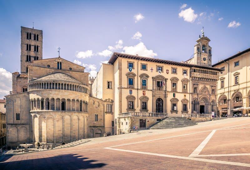 Piazza Grande in Arezzo, Italië stock foto
