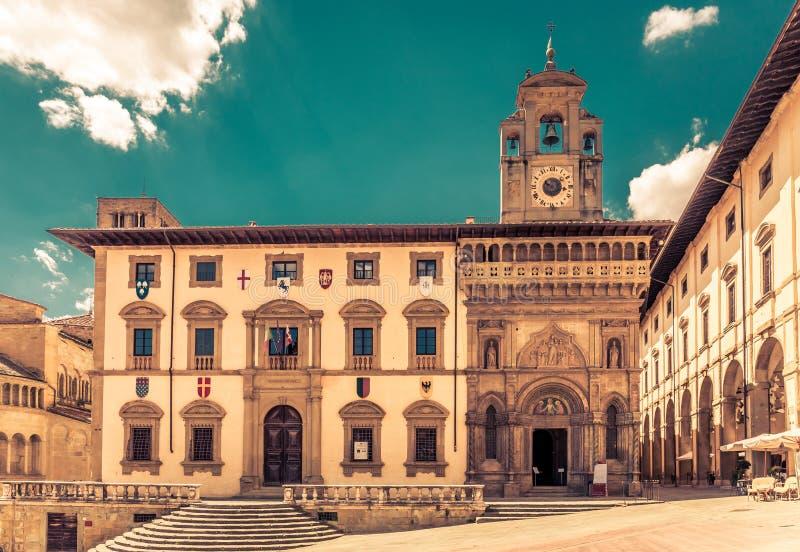 Piazza Grande a Arezzo, Italia fotografia stock
