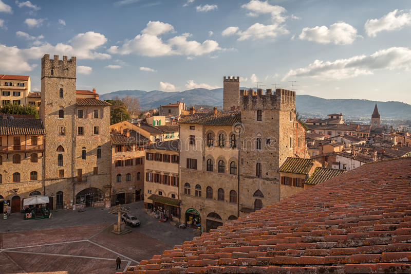 Piazza Grande der Hauptplatz toskanischer Arezzo-Stadt, Italien lizenzfreies stockfoto