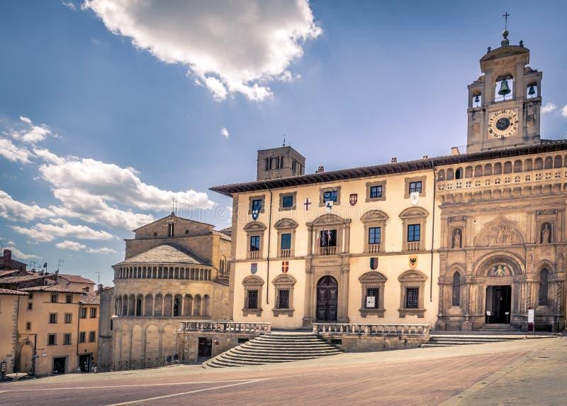 Piazza Grande em Arezzo, Itália fotografia de stock royalty free