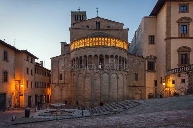 Piazza Grande het belangrijkste vierkant van Toscaanse Arezzo stad, Italië stock foto