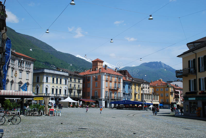 Piazza Grande in Locarno. In the city center of Lucarno the Piazza grande is nice wolking place, there are restaurantes and bars, shops. In back side we can see stock photography