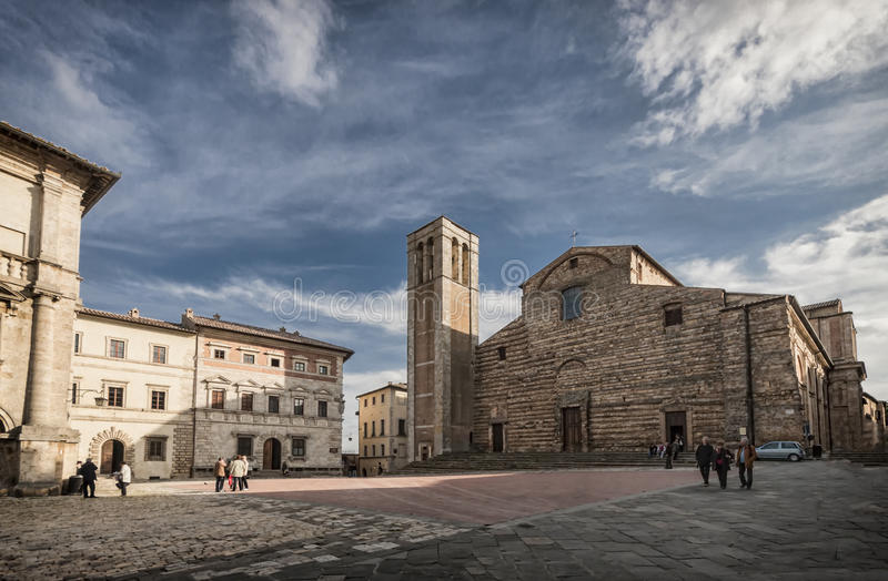 Piazza Grande in Montepulciano, Toscana, Italia fotografie stock