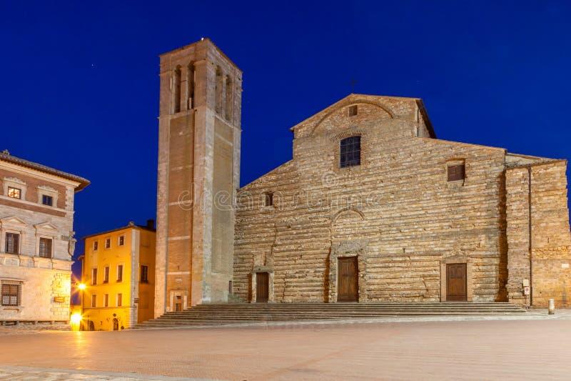 Piazza Grande, Montepulciano, Tuscany, italy. Piazza Grande at night, Montepulciano, Tuscany, italy royalty free stock photography