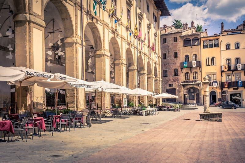 Piazza Grande na cidade de Arezzo, Itália fotografia de stock royalty free