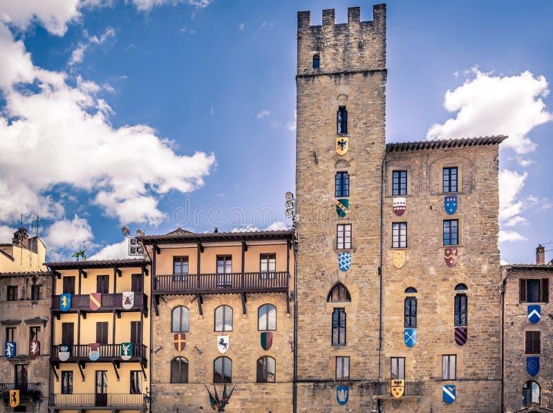 Piazza Grande nella città di Arezzo, Italia fotografia stock