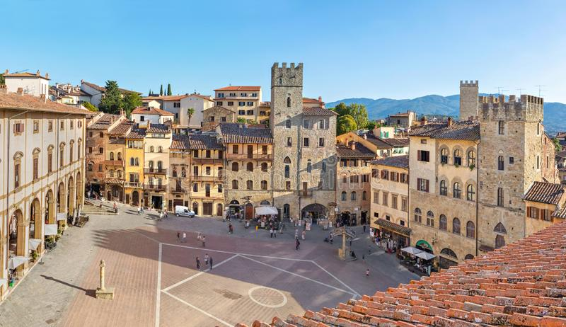 Piazza Grande square in Arezzo, Italy. Panoramic aerial view of Piazza Grande square in Arezzo, Tuscany, Italy royalty free stock images