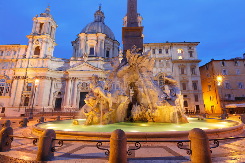 Piazza het Vierkant van Navona in de ochtend, Rome, Italië stock afbeeldingen