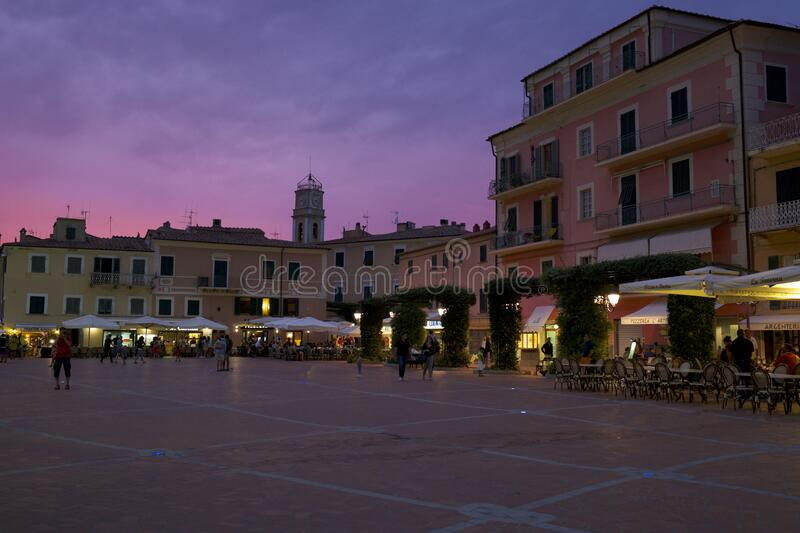Piazza in Italy at sunset stock photography