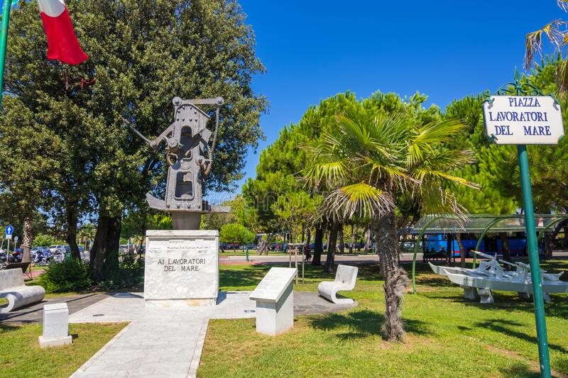 Piazza Lavoratori Del Mare is a Memorial Park Dedicated to Sailors in Forte Dei Marmi, Italy. Forte dei Marmi, Italy - August 18, 2019: Piazza Lavoratori Del royalty free stock images