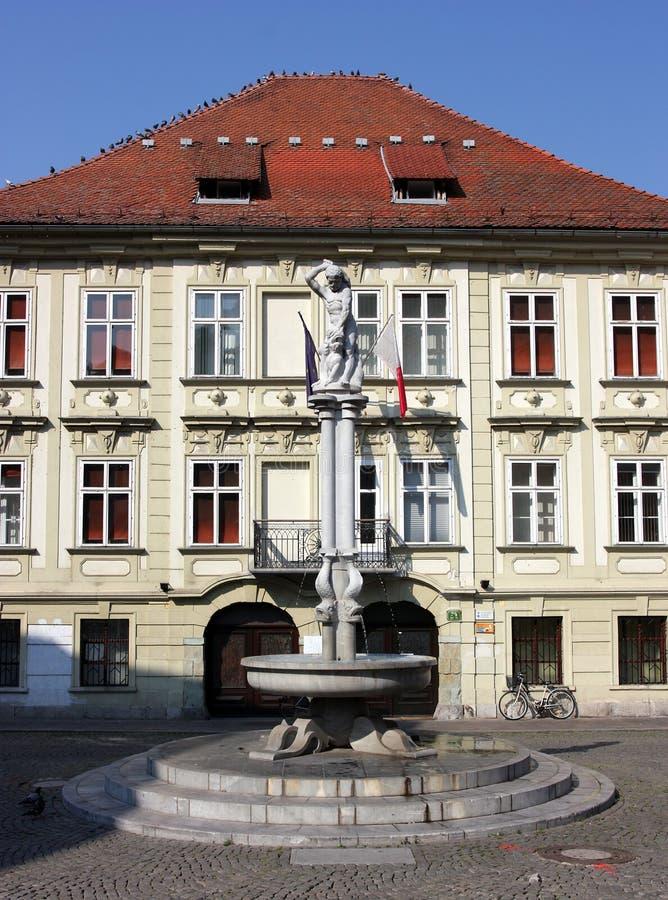 Piazza, Ljubljana, Slowenien stockfotos