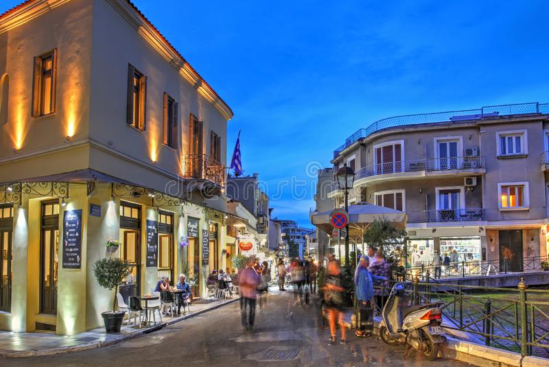 Piazza Lysikrates, Plaka, Atene, Grecia fotografia stock libera da diritti