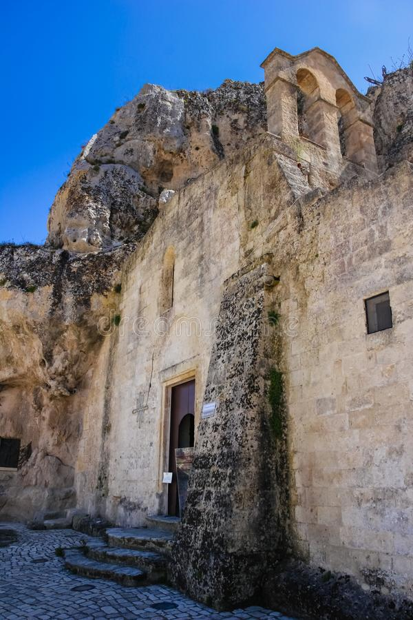 Church of Santa Maria di Idris. Matera. Basilicata. Apulia or Puglia. Italy. Piazza Madonna de Idris and church of Santa Maria di Idris. Matera. Basilicata royalty free stock image